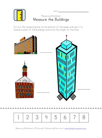 Measurement Worksheet - Measure the Buildings | All Kids Network