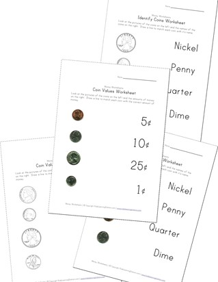 coin names and value worksheets