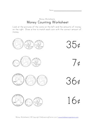 counting money worksheet one