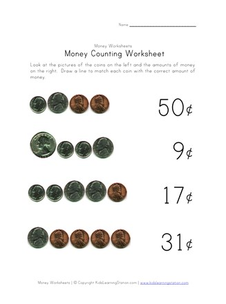 image about Counting Money Printable Worksheets named Counting Economical Worksheet - A few of 4 All Youngsters Community