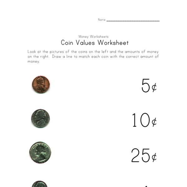 Worksheet Coin Value Worksheets coin names and value worksheets all kids network