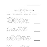 money counting worksheet one