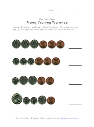 money counting worksheet three