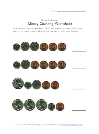 money counting worksheet four