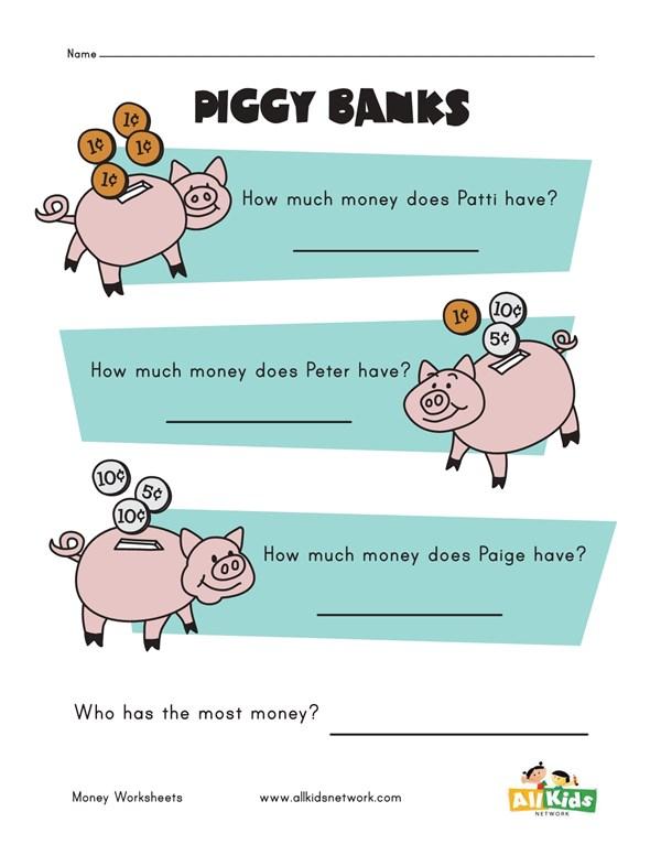 Piggy Bank Money Worksheet | All Kids Network