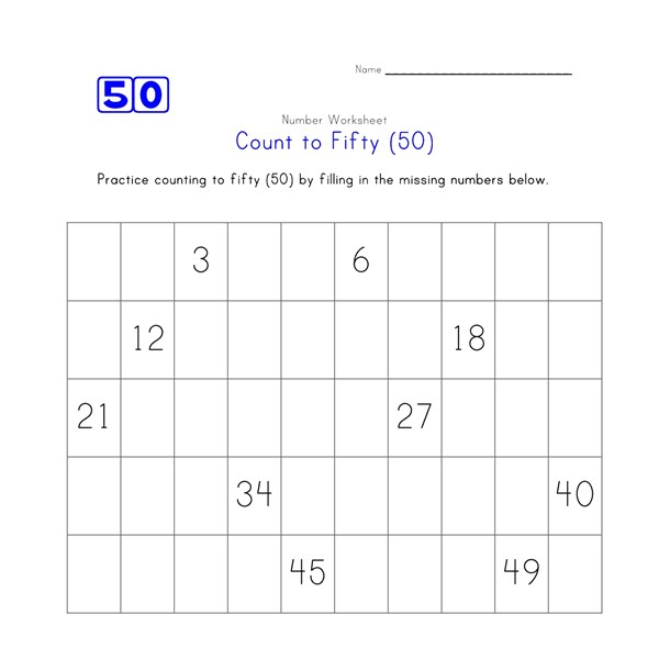count to 50 worksheet