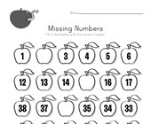 Apple Missing Numbers Worksheet