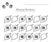 Autumn Missing Numbers Worksheet