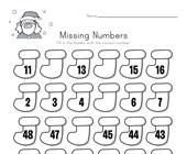 Christmas Missing Numbers Worksheet