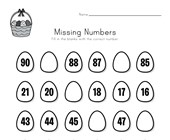 Easter Missing Numbers Worksheet