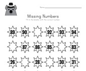 Groundhog Day Missing Numbers Worksheet
