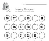 Halloween Missing Numbers Worksheet