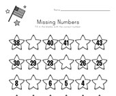 Patriotic Missing Numbers Worksheet