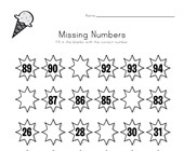 Summer Missing Numbers Worksheet