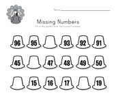 Thanksgiving Missing Numbers Worksheet