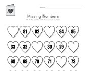 Valentine's Day Missing Numbers Worksheet