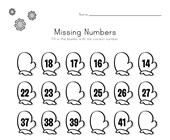 Winter Missing Numbers Worksheet