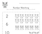 Animal Number Matching Worksheet