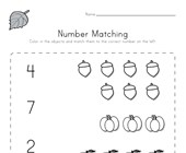 Fall Number Matching Worksheet