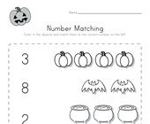 Halloween Number Matching Worksheet