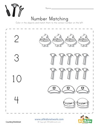 Labor Day Number Matching Worksheet