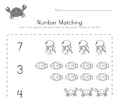 Ocean Number Matching Worksheet