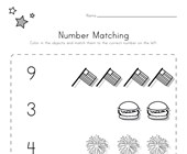 Patriotic Number Matching Worksheet
