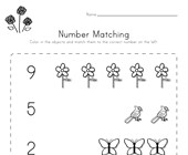 Spring Number Matching Worksheet