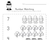 St. Patrick's Day Number Matching Worksheet