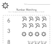 Summer Number Matching Worksheet