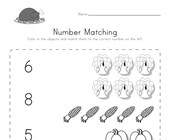 Thanksgiving Number Matching Worksheet