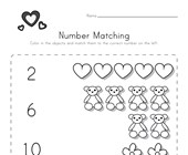 Valentine's Day Number Matching Worksheet