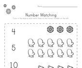 Winter Number Matching Worksheet