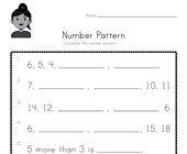 Number Pattern Worksheet 2