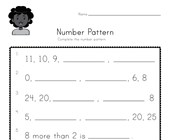 Number Pattern Worksheet 3