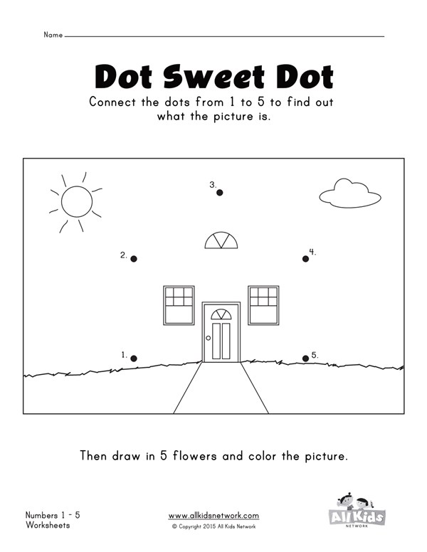 Connect the Dots from 1-5 Worksheet | All Kids Network