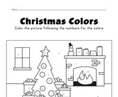 Christmas color by numbers worksheet