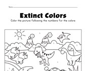 Dinosaurs color by numbers worksheet