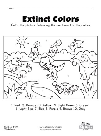 Dinosaurs color by numbers 1 - 10 worksheet | All Kids Network