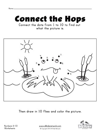 Connect the dots frog numbers 1 - 10 worksheet | All Kids ...