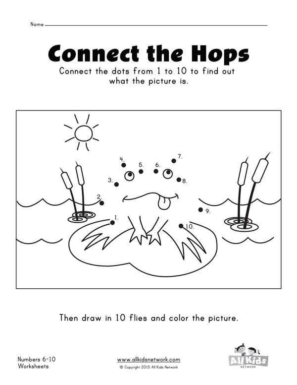Connect The Dots Frog Numbers 1 10 Worksheet All Kids Network
