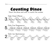 dinosaur counting worksheet