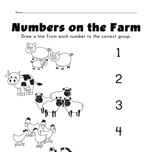 farm matching numbers worksheet all kids network. Black Bedroom Furniture Sets. Home Design Ideas