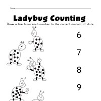 ladybugs number matching worksheet