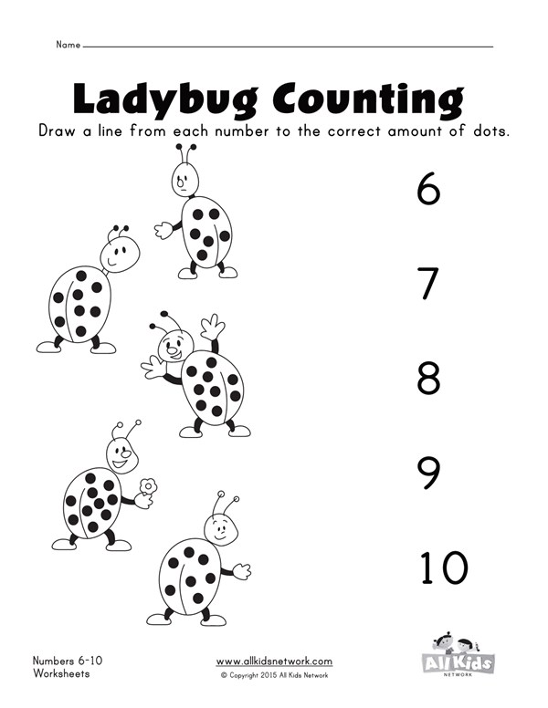 Ladybugs matching numbers worksheet | All Kids Network