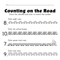 vehicles number matching worksheet
