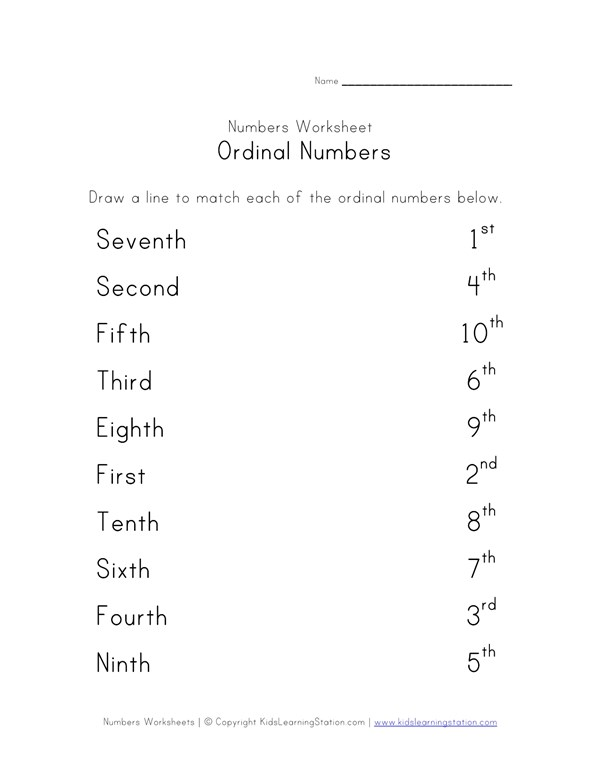 Match Ordinal Numbers Worksheet All Kids Work: Ordinal Numbers Worksheet Ks2 At Alzheimers-prions.com
