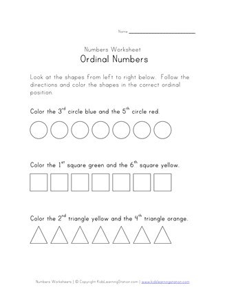 Ordinal Numbers Printable All Kids Network