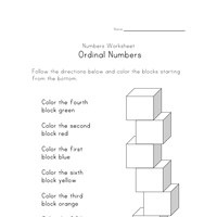 ordinal numbers worksheet