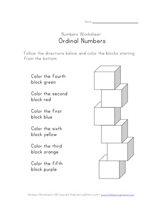 ordinal numbers worksheets  all kids network